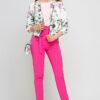 Bunte mehrfarbige Damen Blousonjacke mit Blumen-Print - Bomberjacke von Lanti - Ganzkörperansicht