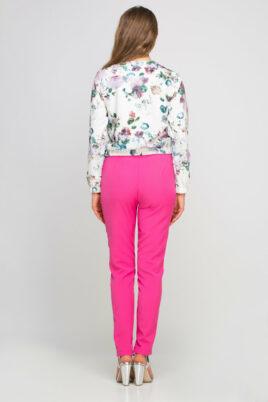 Bunte mehrfarbige Damen Blousonjacke mit Blumen-Print - Bomberjacke von Lanti - Rückenansicht