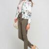 Bunte mehrfarbige Damen Blousonjacke mit Blumen-Print - Bomberjacke von Lanti - Seitenansicht