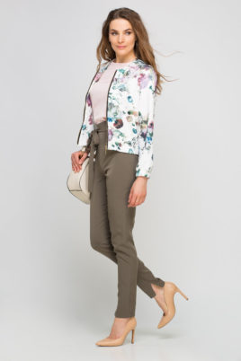 Lanti bunte mehrfarbige Damen Blousonjacke mit Blumen-Print – Bomberjacke – Seitenansicht