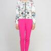 Bunte mehrfarbige Damen Blousonjacke mit Blumen-Print - Bomberjacke von Lanti - Vorderansicht