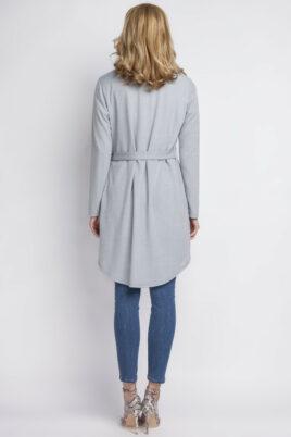 Graue leichte Damen Strickjacke mit Schlaufe - Cardigan im Vokuhila-Style von Lanti - Rückenansicht