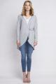 Graue leichte Damen Strickjacke mit Schlaufe - Cardigan im Vokuhila-Style von Lanti - Vorderansicht