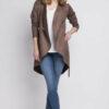 Braune Damen Jacke in Wasserfalloptik & Wildleder-Look von Lanti - Ganzkörperansicht