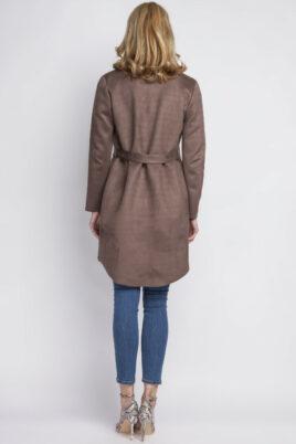 Braune Damen Jacke in Wasserfalloptik & Wildleder-Look von Lanti - Rückenansicht