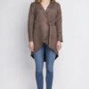 Braune Damen Jacke in Wasserfalloptik & Wildleder-Look von Lanti - Vorderansicht