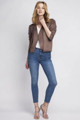 Lanti braune Damen Jacke im Wildleder-Look – Übergangsjacke & Kurzjacke – Ganzkörperansicht