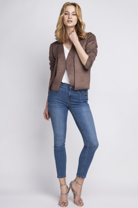 Braune Damen Jacke im Wildleder-Look - Übergangsjacke & Kurzjacke von Lanti - Ganzkörperansicht