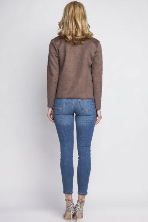 Braune Damen Jacke im Wildleder-Look - Übergangsjacke & Kurzjacke von Lanti - Rückenansicht