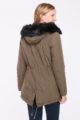 Khaki brauner Damen Winterparka mit Kapuze & schwarzem Kunstfellbesatz - gefütterte Winterjacke von Orcelly - Rückenansicht