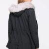 Schwarzer Damen Winterparka mit Kapuze & grauem Kunstfellbesatz - gefütterte Winterjacke von Orcelly - Rückenansicht