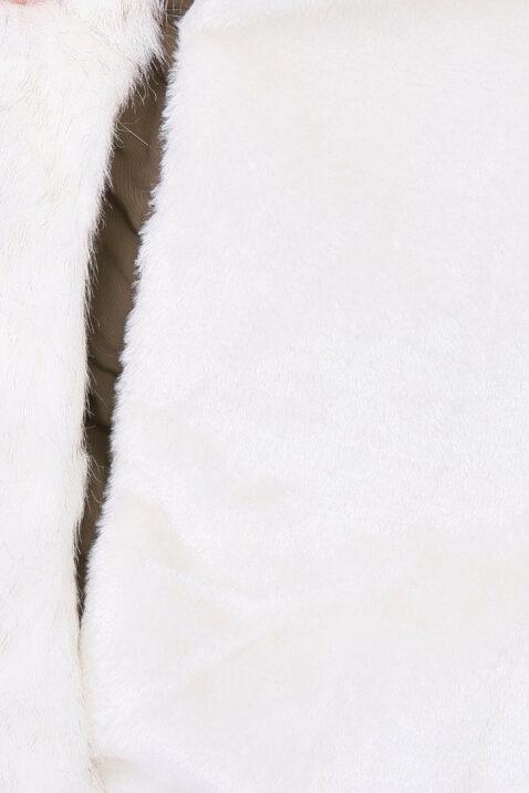 Schwarzer Damen Winterparka mit Kapuze & weißem Kunstfellbesatz - gefütterte Winterjacke von Orcelly - Detailansicht