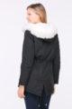 Schwarzer Damen Winterparka mit Kapuze & weißem Kunstfellbesatz - gefütterte Winterjacke von Orcelly - Rückenansicht