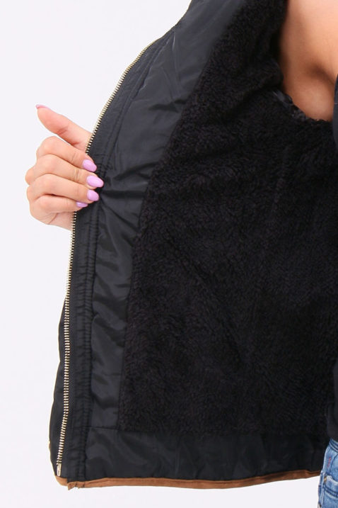Schwarze Damen Steppjacke mit abnehmbarer Kapuze & Kunstfellbesatz gefüttert - Warme Winterjacke von Orcelly - Detailansicht
