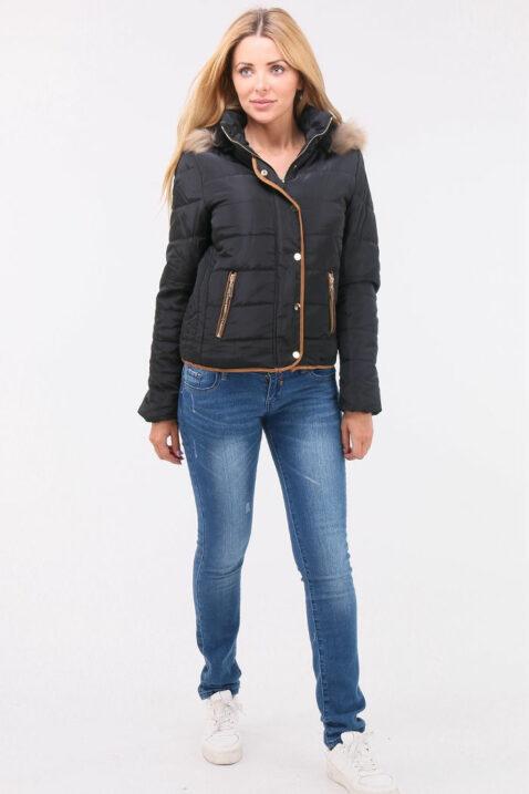 Schwarze Damen Steppjacke mit abnehmbarer Kapuze & Kunstfellbesatz gefüttert - Warme Winterjacke von Orcelly - Ganzkörperansicht