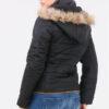 hwarze Damen Steppjacke mit abnehmbarer Kapuze & Kunstfellbesatz gefüttert - Warme Winterjacke von Orcelly - Rückenansicht