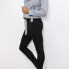 Graue Damen Bikerjacke in Leder-Optik - kurze Kunstlederjacke von Osley - Seitenansicht