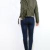 Khaki grüne Damen Bikerjacke in Leder-Optik - kurze Kunstlederjacke von Osley - Rückenansicht