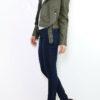 Khaki grüne Damen Bikerjacke in Leder-Optik - kurze Kunstlederjacke von Osley - Seitenansicht
