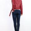 Bordeaux rote Damen Bikerjacke in Leder-Optik - Kunstlederjacke von Osley - Rückenansicht