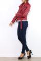 Bordeaux rote Damen Bikerjacke in Leder-Optik - Kunstlederjacke von Osley - Seitenansicht