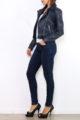 Marineblaue Damen Kunstlederjacke im Biker-Look - kurze Lederimitat Bikerjacke von Osley Paris - Seitenansicht