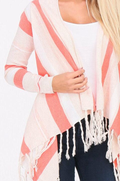 Koralle Pullover Damen Cardigan mit Fransen - asymmetrisch & Streifen von PAJ Concept - Detailansicht