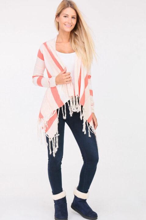Koralle Damen Pullover Cardigan mit Fransen - asymmetrisch & Streifen von PAJ Concept - Ganzkörperansicht