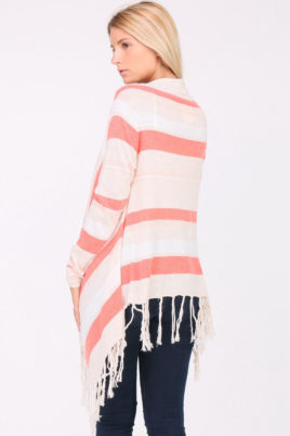 Koralle Pullover Damen Cardigan mit Fransen - asymmetrisch & Streifen von PAJ Concept - Rückenansicht