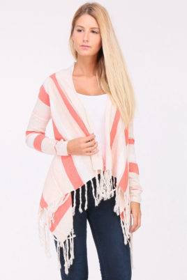 PAJ Concept koralle Damen Pullover Cardigan mit Fransen – asymmetrisch & Streifen – Vorderansicht