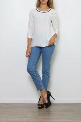 Paj Concept weiße Damen Bluse mit 3/4-Arm – Casual & Business Viskosebluse mit Dreiviertel Ärmel – Ganzkörperansicht