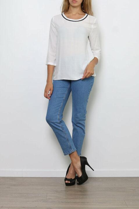 Weiße Damen Bluse mit 3/4-Arm - Casual & Business Viskosebluse mit Dreiviertel Ärmel von Paj Concept - Ganzkörperansicht