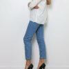 Weiße Damen Bluse mit 3/4-Arm - Casual & Business Viskosebluse mit Dreiviertel Ärmel von Paj Concept - Seitenansicht