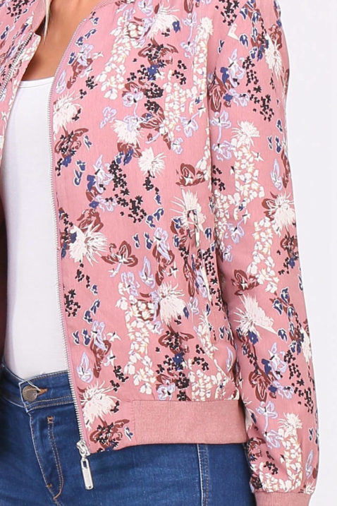 Rosa Damen leichter Blouson mit modernem Blumenprint - Bomberjacke & Blousonjacke floral von QUEEN´S - Detailansicht