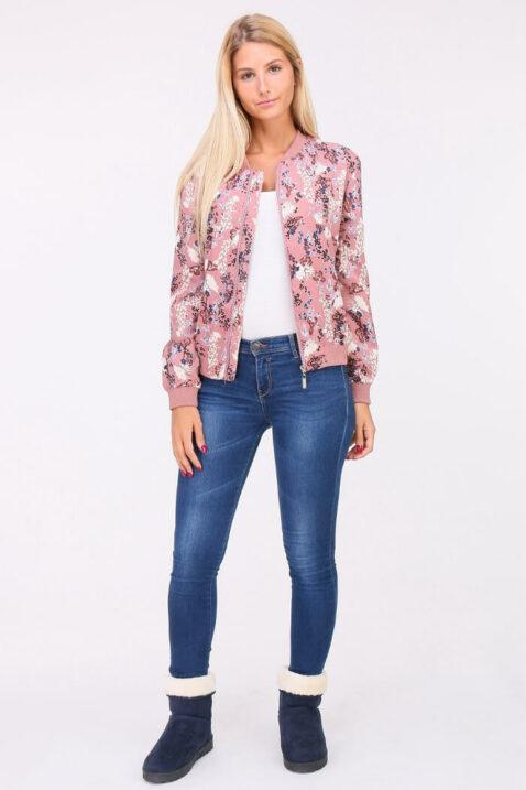 Rosa Damen leichter Blouson mit modernem Blumenprint - Bomberjacke & Blousonjacke floral von QUEEN´S - Ganzkörperansicht