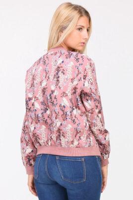 Rosa Damen leichter Blouson mit modernem Blumenprint - Bomberjacke & Blousonjacke floral von QUEEN´S - Rückenansicht