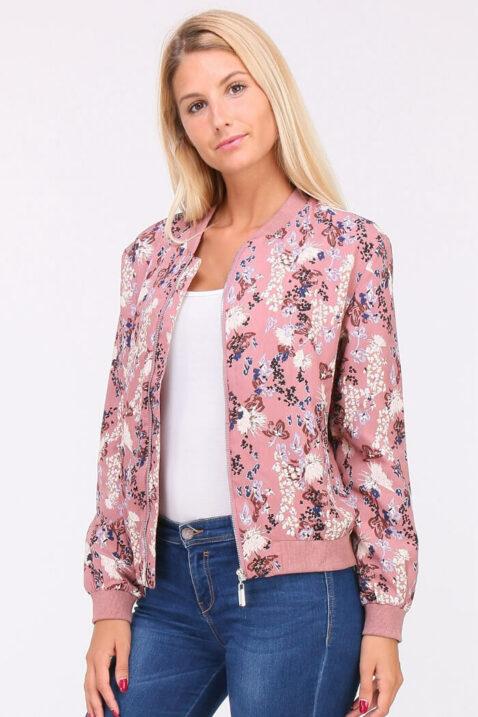 Rosa Damen leichter Blouson mit modernem Blumenprint - Bomberjacke & Blousonjacke floral von QUEEN´S - Vorderansicht