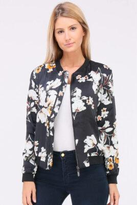 QUEEN´S leichte schwarze Damen Blousonjacke mit Blumenmustern – Bomberjacke & Blouson floral – Vorderansicht