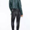 Grüne khaki Damen Bikerjacke in Leder-Optik - Kunstlederjacke von Softy by Ever Boom - Rückenansicht