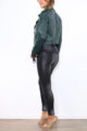 Grüne khaki Damen Bikerjacke in Leder-Optik - Kunstlederjacke von Softy by Ever Boom - Seitenansicht