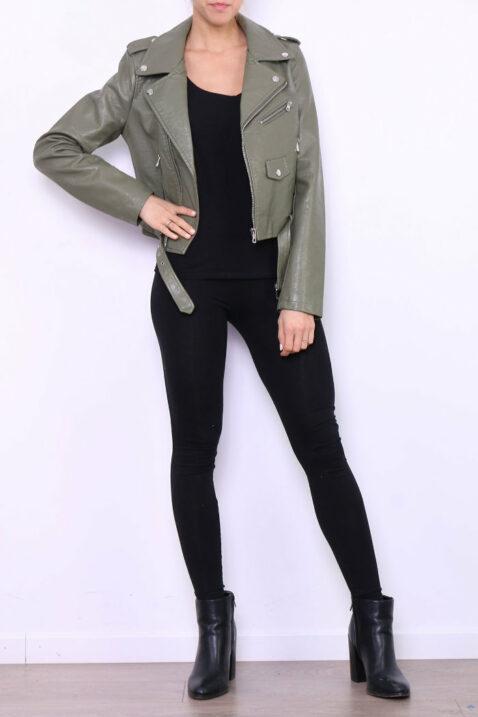 Khaki grüne Damen Bikerjacke in Leder-Optik - Kunstlederjacke von Softy by Ever Boom - Ganzkörperansicht