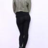 Khaki grüne Damen Bikerjacke in Leder-Optik - Kunstlederjacke von Softy by Ever Boom - Rückenansicht