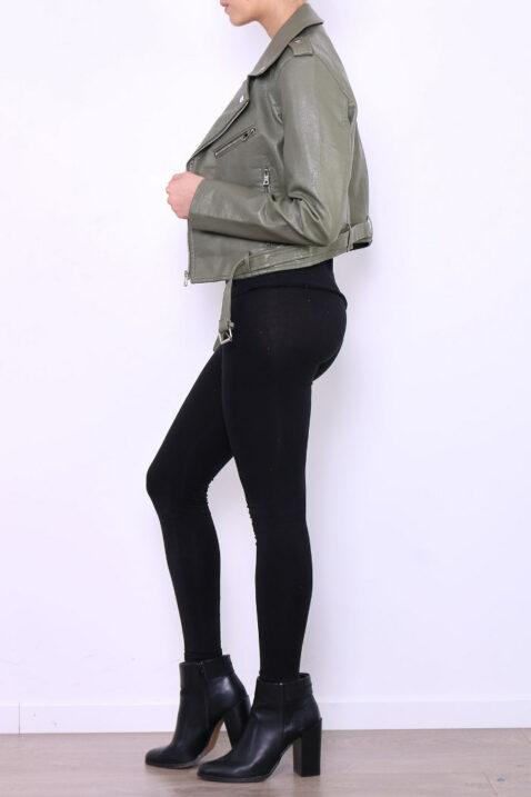Khaki grüne Damen Bikerjacke in Leder-Optik - Kunstlederjacke von Softy by Ever Boom - Seitenansicht