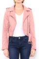 Rosa Damen Jacke im Biker-Look - Bikerjacke & Lederimitatjacke von Softy by Ever Boom - Detailansicht