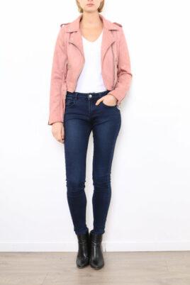 Softy by Ever Boom rosa Damen Jacke im Biker-Look – Bikerjacke & Lederimitatjacke – Ganzkörperansicht