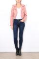 Rosa Damen Jacke im Biker-Look - Bikerjacke & Lederimitatjacke von Softy by Ever Boom - Ganzkörperansicht