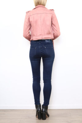 Rosa Damen Jacke im Biker-Look - Bikerjacke & Lederimitatjacke von Softy by Ever Boom - Rückenansicht