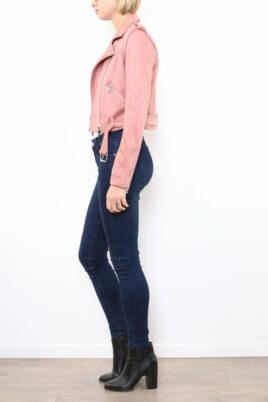 Rosa Damen Jacke im Biker-Look - Bikerjacke & Lederimitatjacke von Softy by Ever Boom - Seitenansicht