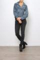 Graue Damen Kunstlederjacke in verwaschener Melange Optik - Lederimitatjacke von Softy by Ever Boom - Ganzkörperansicht