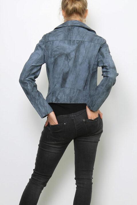 Graue Damen Kunstlederjacke in verwaschener Melange Optik - Lederimitatjacke von Softy by Ever Boom - Rückenansicht